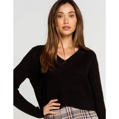 フルティルト FULL TILT レディース ニット・セーター Vネック トップス V Neck Black Sweater BLACK