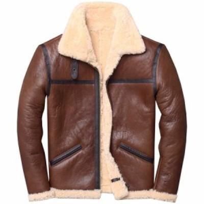 ファーコート メンズ 毛皮コート  ウール ムートンジャケット もこもこ ライダースジャケット メンズ 本革 厚手 暖かい 防寒 秋冬