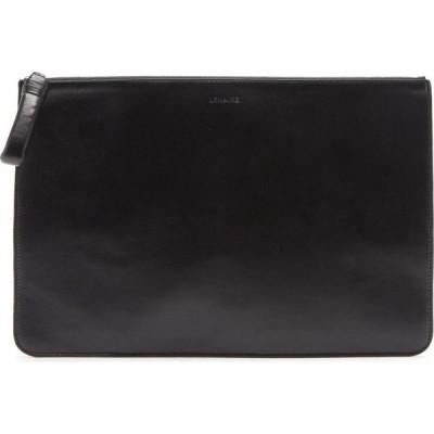 ルメール Lemaire メンズ ポーチ Logo-debossed leather pouch Black