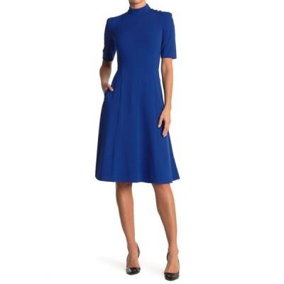 ドナモーガン レディース ワンピース トップス Mock Neck Elbow Length Puff Sleeve Dress BLUE SAPPH