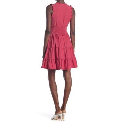 マックスタジオ レディース ワンピース トップス Sleeveless Short Smocked Dress RDWHT128-RED/WHITE-128