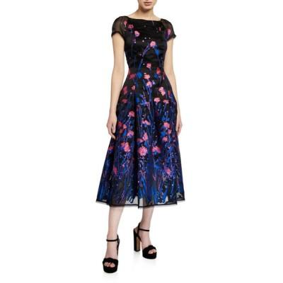 タルボールホフ レディース ワンピース トップス Poppy Field Silk Coupe Cap-Sleeve Dress