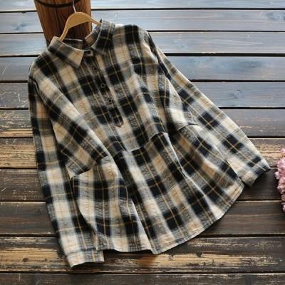 シャツブラウスレディーストップス秋春40代きれいめ大きいサイズチェック柄襟付き長袖プルオーバー