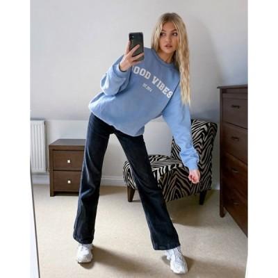 インザスタイル レディース シャツ トップス In The Style x Gemma Collins slogan sweatshirt in light blue