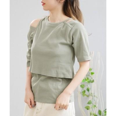 tシャツ Tシャツ アシンメトリー異素材レイヤードTシャツ