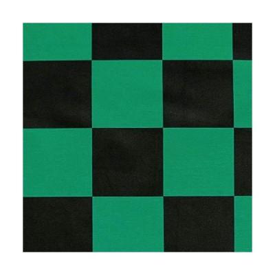 MAKE CHEERFUL 市松模様 布 生地 ツイル 緑×黒 和柄 (市松模様 緑×黒 145cmx100cm)