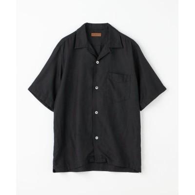(TOMORROWLAND MENS/トゥモローランド メンズ)コットンシルク オープンカラーショートスリーブシャツ BROWN/メンズ 19ブラック