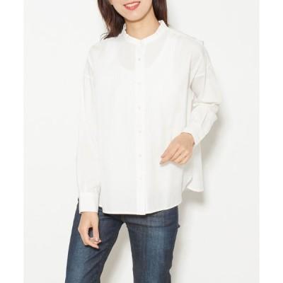 シャツ ブラウス バンドカラーワイドシャツ