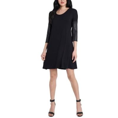 ミスク ワンピース トップス レディース Petite Faux-Leather-Sleeve Dress Black