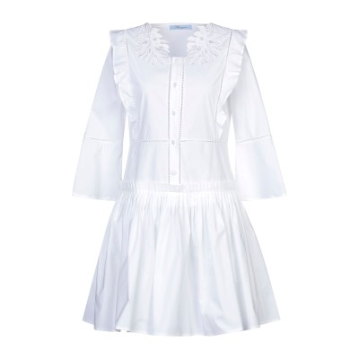 ブルマリン BLUMARINE ミニワンピース&ドレス ホワイト 40 コットン 97% / ポリウレタン 3% ミニワンピース&ドレス