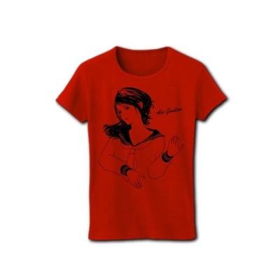 エアギター少女 リブクルーネックTシャツ(レッド)