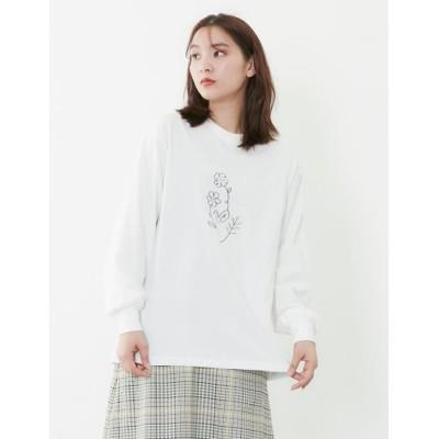 【プードゥドゥ】 ラインフラワー刺繍ロンTee レディース オフホワイト M POU DOU DOU