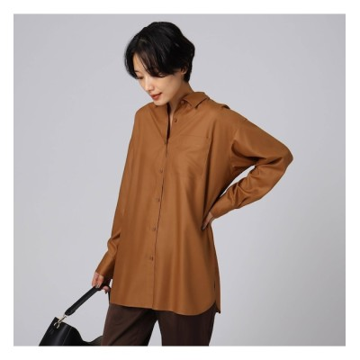 【アンタイトル/UNTITLED】 【洗える】フルダルスパンピーチロングシャツ