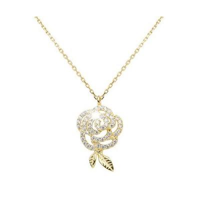 花ジュエリー アレルギー対応 仕上げシルバー 925純銀製 プレゼント 誕生日 ゴールド (花ダイヤモンドネックレス)