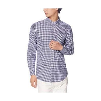 [[セシール]] カジュアルシャツ 綿100% 長袖 先染め チェック ボーダー メンズ JB-1007 (ネイビーケイ S)