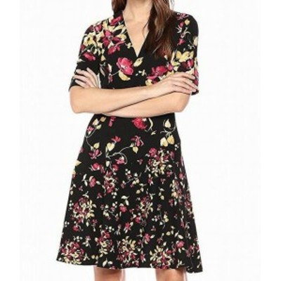 London Times ロンドンタイムズ ファッション ドレス London Times NEW Black Womens Size 4 Floral V-Neck A-Line Dress
