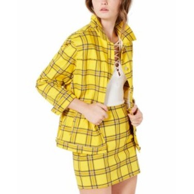 GUESS ゲス ファッション 衣類 Guess Womens Jacket Coat Yellow Size Medium M Trucker Plaid Collared