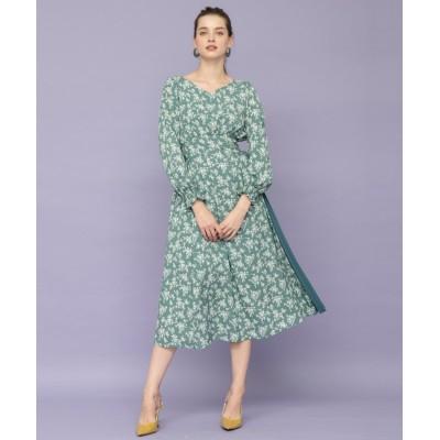 【アンドクチュール】 花柄アシメレースアップワンピース レディース グリーン M And Couture