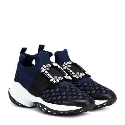 ロジェ ヴィヴィエ Roger Vivier レディース スリッポン・フラット シューズ・靴 viv' run strass buckle sneakers Blu/Nero