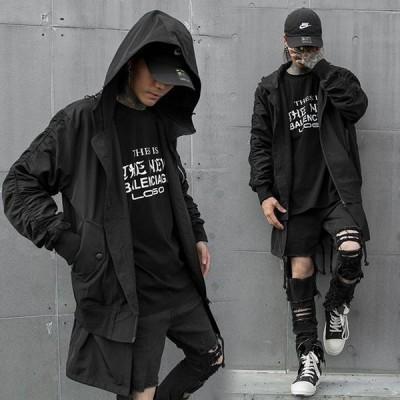 ジャケット パーカー メンズ スプリングコート フェイクレイヤード 羽織 春秋物 ロングコート 個性的 アウター フード付き ダークファッション