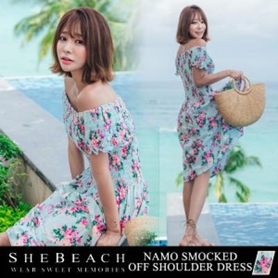 レディース ワンピース オールインワン オフショルダー ママ ミセス 韓国 ファッション SHEBEACH シービーチ 正規品 体型カバー 大人