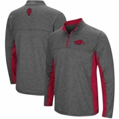 Colosseum コロセウム スポーツ用品  Colosseum Arkansas Razorbacks Heathered Charcoal Milton Windshirt Quarter-Zip Pullover Jacket