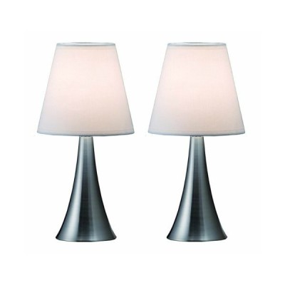 Simple Designs Home LT2014-WHT-2PK Valencia Brushed Nickel Mini Touch Table Lamps with Fabric Shades, White (Pack of 2)【並行輸入品】