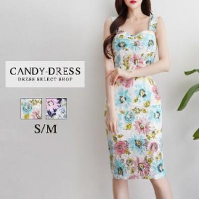 【予約】S/M 送料無料 Luxury Dress 総レース×マルチカラーフラワープリントノースリーブタイトミディドレス SN200605 韓国ドレス 韓国