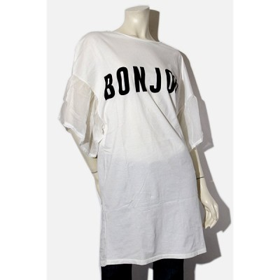 【中古】ViCOLO ヴィコロ BON JOUR プリント 半袖ビッグTシャツ WHITE ホワイト /◆☆ レディース 【ベクトル 古着】