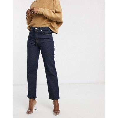 エイソス レディース デニムパンツ ボトムス ASOS DESIGN high rise stretch 'slim' straight leg jeans in rinse wash Rinse wash