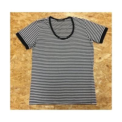 BEAMS ビームス Sサイズ レディース Tシャツ オーバルネック ボーダー 丸首 半袖 カットソー ポリエステル×綿 ブラック×ホワイト 黒×白