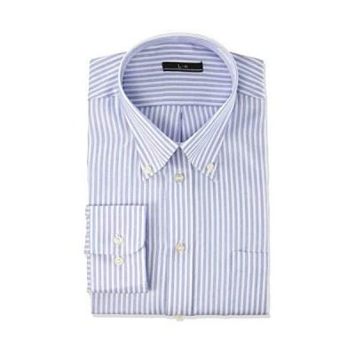 [アトリエサンロクゴ] ワイシャツ メンズ 形態安定 長袖Yシャツ ビジネスシャツ sun-ml-wd-1130 I-ブロックストライプ 首回り43c