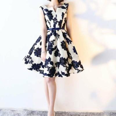韓国 ファッション レディース パーティードレス 大きいサイズ 花柄 ワンピース 膝丈 フレア Aライン ノースリーブ 二次会 結婚式 お呼ば