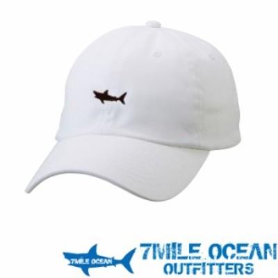 7MILE OCEAN 帽子 キャップ ベースボールキャップ ワンポイント 刺繍 鮫 サメ シャーク フリーサイズ ホワイト 白