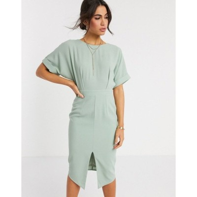 エイソス レディース ワンピース トップス ASOS DESIGN wiggle midi dress in sage green Sage green
