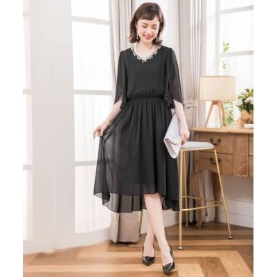 【ドレス スター】 ビジュー付きフィッシュテールシフォンパーティードレス レディース ブラック Sサイズ DRESS STAR