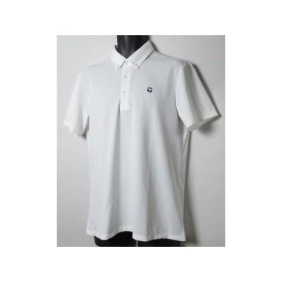 新品 テーラーメイド/TaylorMade ゴルフ 定価1.2万 ボタンダウン半袖シャツ/Oサイズ/JJA86/ホワイト