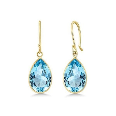Gem Stone King 14K Yellow Gold Blue Topaz Earrings For Women, 13.00 Ct