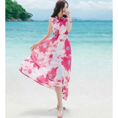 リゾートワンピース リゾートワンピ リゾートドレス ロング マキシ 花柄 ノースリーブ 大きいサイズ ハイウエスト 韓国 ファッション