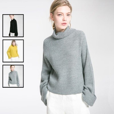 ニットセーター ニット レディース セーター タートルネック 2way 春 秋 sweater 長袖 トップス ファッション 学生 大人 20代 30代