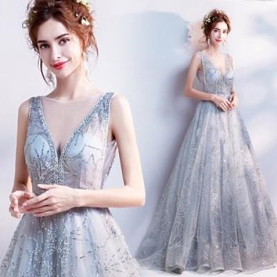 【ANGEL】Vネックノースリーブビーズラメ肌透けチュールAラインロングドレス【送料無料】高品質 グレー 灰色 シルバー ロングドレス
