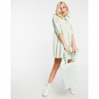 インフルエンス Influence レディース ワンピース ワンピース・ドレス Collared Mini Dress With Button Down Front In Sage Green セー