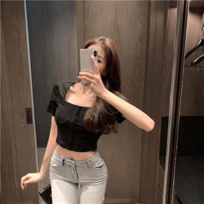 おしゃれをしましょう 韓国ファッション 短いスタイル シャツ 2020夏 怠惰な風 半袖 スクエアネック Tシャツ sweet系 ブラウス ハイウエスト スリム ギャザリング トップス 上着