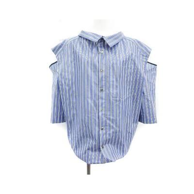 【中古】IRENE 19SS ウエストクロストップス Waist Cloth Tops ブラウス シャツ 長袖 ストライプ 肩開き レイヤード風 36 青 白 レディース 【ベクトル 古着】