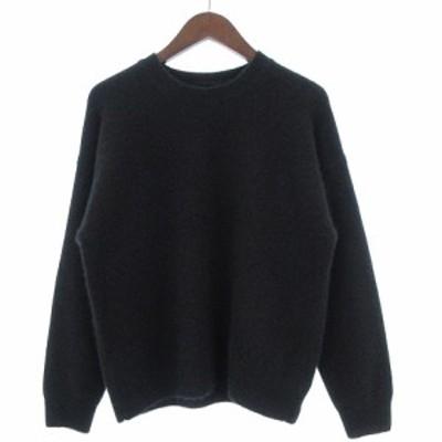 【中古】オーラリー AURALEE 18AW ベビー カシミヤ セーター ニット 長袖 丸首 クルーネック A8AP04BC 黒 ブラック 1
