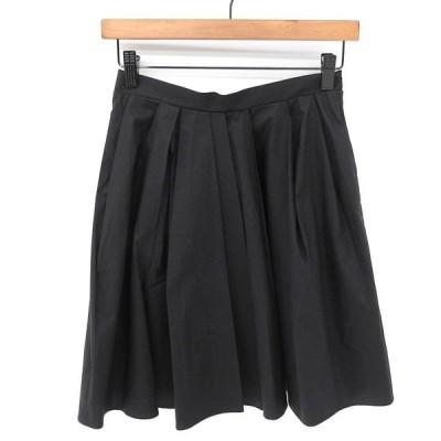 カルヴェン CARVEN コットン100% フレア ギャザー ひざ丈 スカート ボトムス レディース ブラック size35 X04071