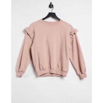 スタイルチート レディース シャツ トップス Style Cheat frill sleeve sweatshirt in blush pink