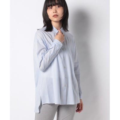 【レリアン】 配色ストライプシャツ レディース スカイブルー 9 Leilian