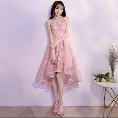 パーティードレス 韓国 20代 30代 ミモレ丈 結婚式 花柄刺繍 シースルー ノースリーブ ラウンドネック フィッシュテール