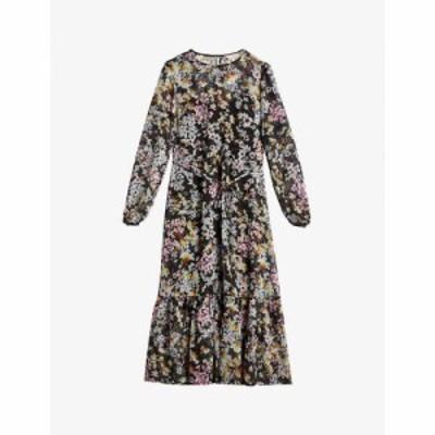 テッドベーカー TED BAKER レディース ワンピース ミドル丈 ワンピース・ドレス Rishika floral chiffon midi dress BLACK